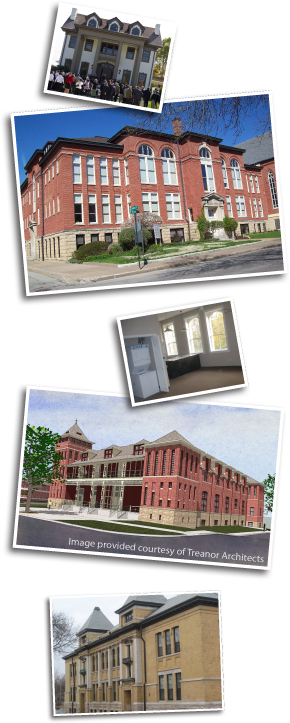 Top to bottom) Photo 1: MPM Heartland House (historic Gates Funeral Home), Kansas City, Kansas. Will be used by MPM Capital, one of the world's largest life science-dedicated venture investors. Photo 2: Cathedral Square Lofts, Dubuque, Iowa Photo 3: Lowell Lofts, former Lowell School, Kansas City, Kansas Photo 4: CPAC building, Leavenworth Building 19, Leavenworth, Kansas. Is being renovated and least to the VA as offices for their Central Plains Consolidated Patient Center (CP-CPAC). Photo 5: Lowell Lofts, former Lowell School, Kansas City, Kansas